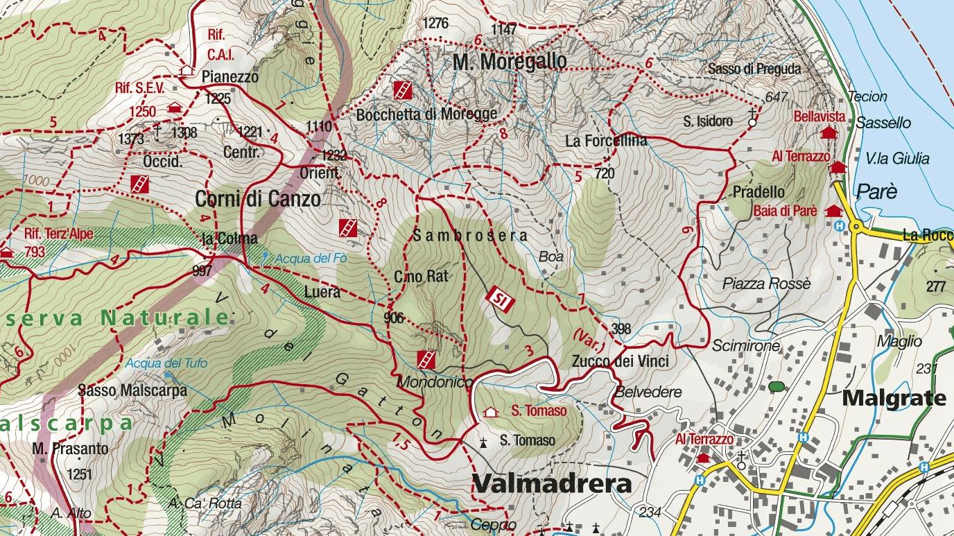 Cartina Sentiero Attrezzato Moregallo