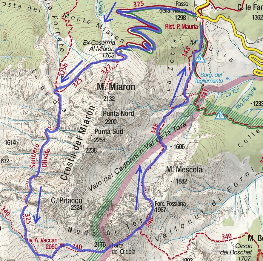 Map of Olivato Itinerary Path