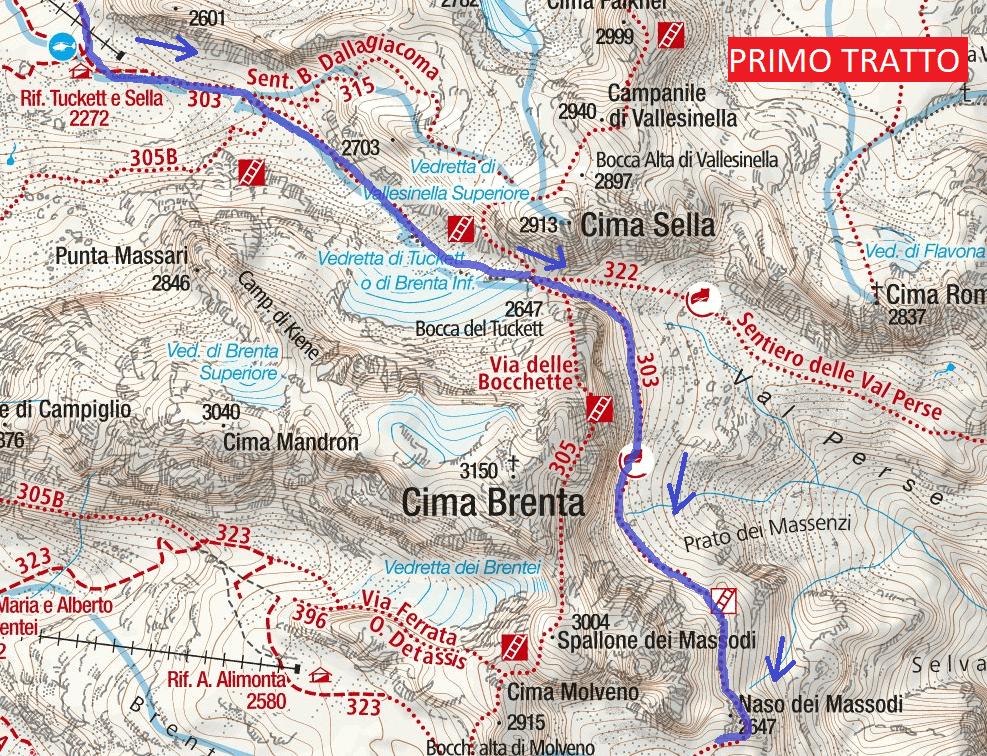 Cartina Sentiero Attrezzato Orsi Avvicinamento Primo Tratto