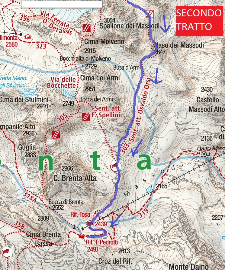 Map of the Aided Paths Bears Approaching Second Section