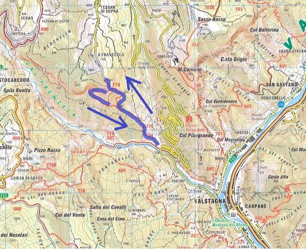 Cartina Sentiero Attrezzato Pierino Zuanna Itinerario