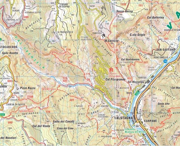 Cartina Sentiero Attrezzato Pierino Zuanna