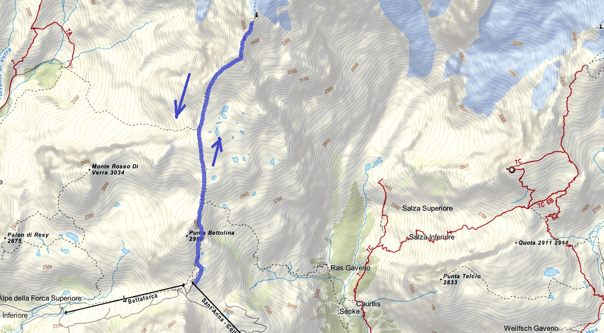 Map of the aided path Quintino Sella Itinerary