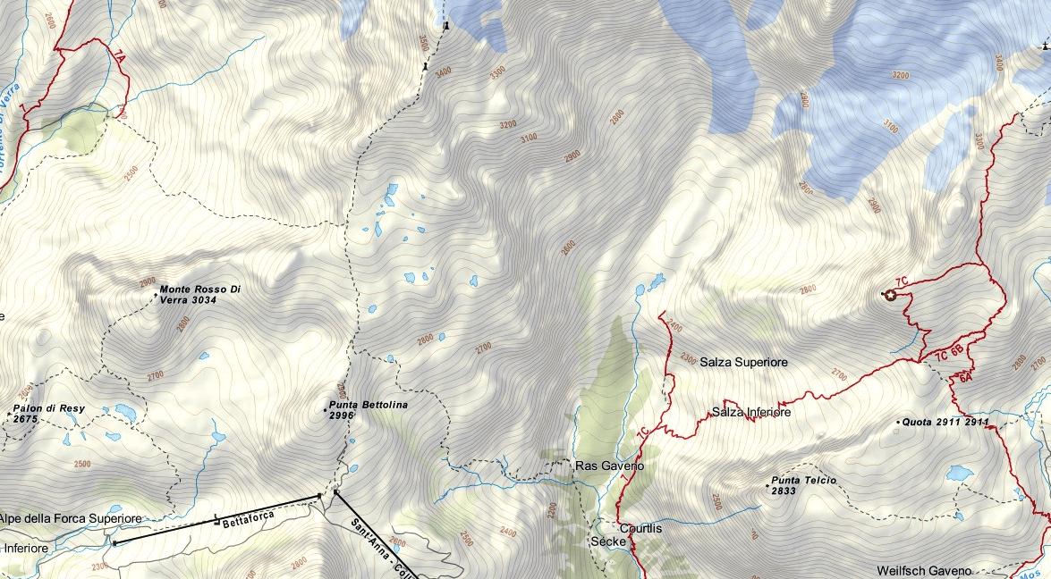 Quintino Sella aided path map