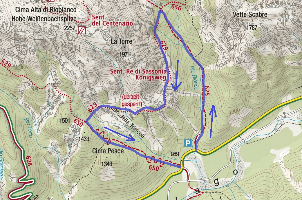 Map of Aided Path King of Saxony Itinerary