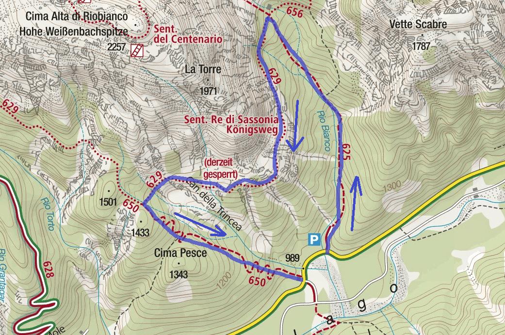 Cartina Sentiero Attrezzato Re di Sassonia Itinerario