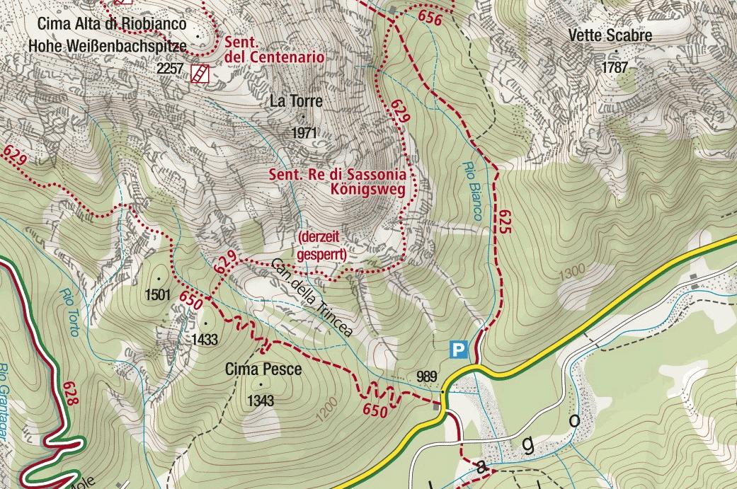 Cartina Sentiero Attrezzato Re di Sassonia