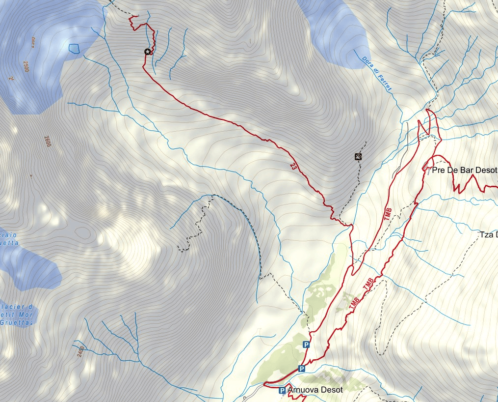 Map of the aided path Rifugio Dalmazzi