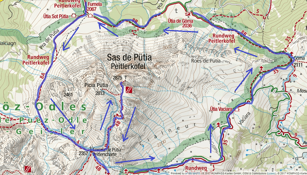 Map of Sass de Putia Aided Path Itinerary Detail