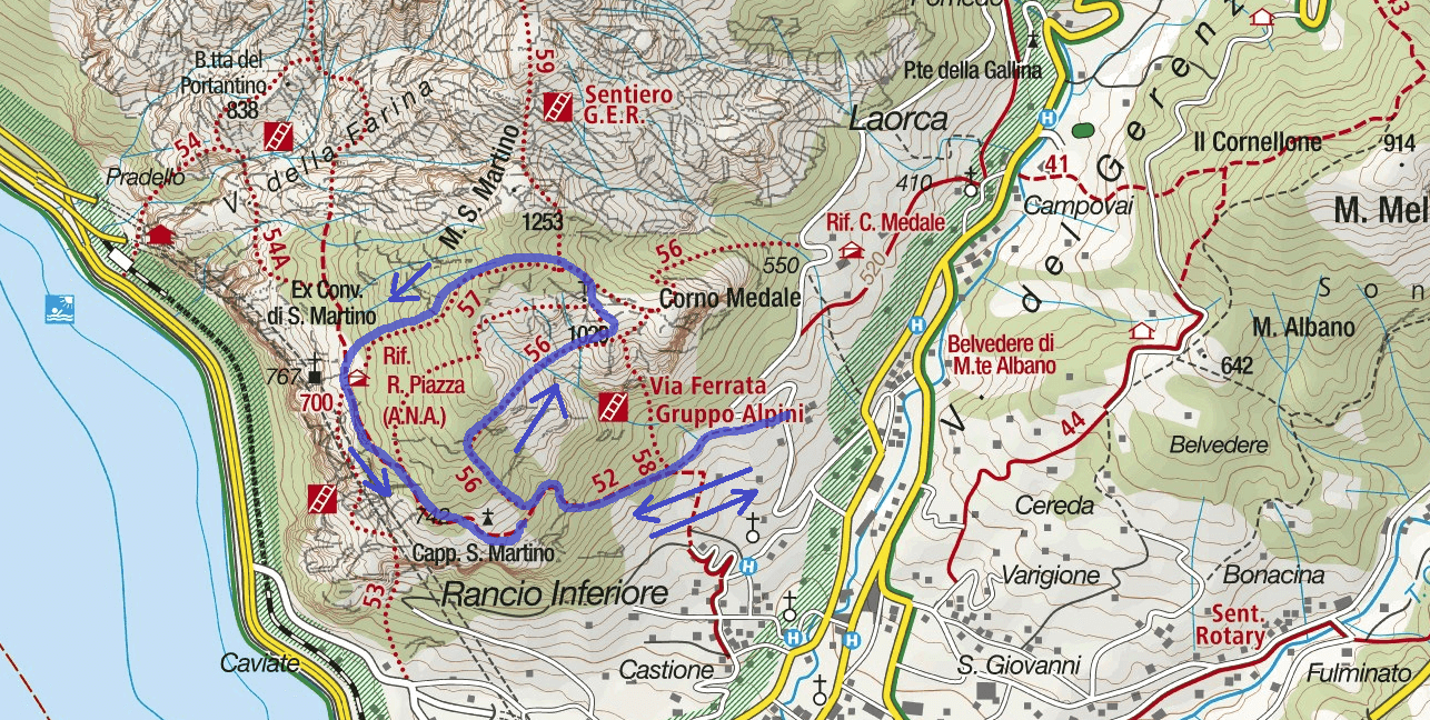 Silvia Itinerary aided Trail Map