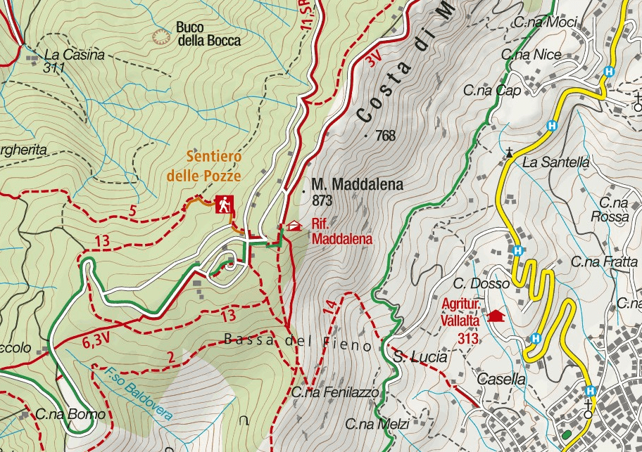 Sperone del Crocefisso Aided Path Map