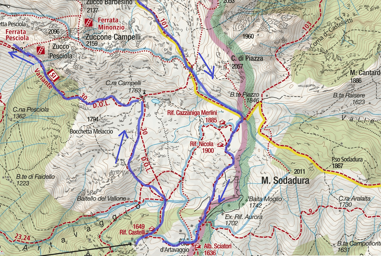 Cartina Sentiero Attrezzato Stradini Itinerario Dettaglio 1