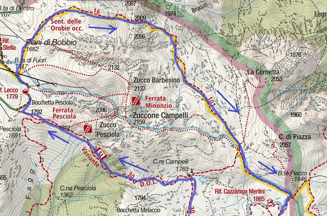Cartina Sentiero Attrezzato Stradini Itinerario Dettaglio 2