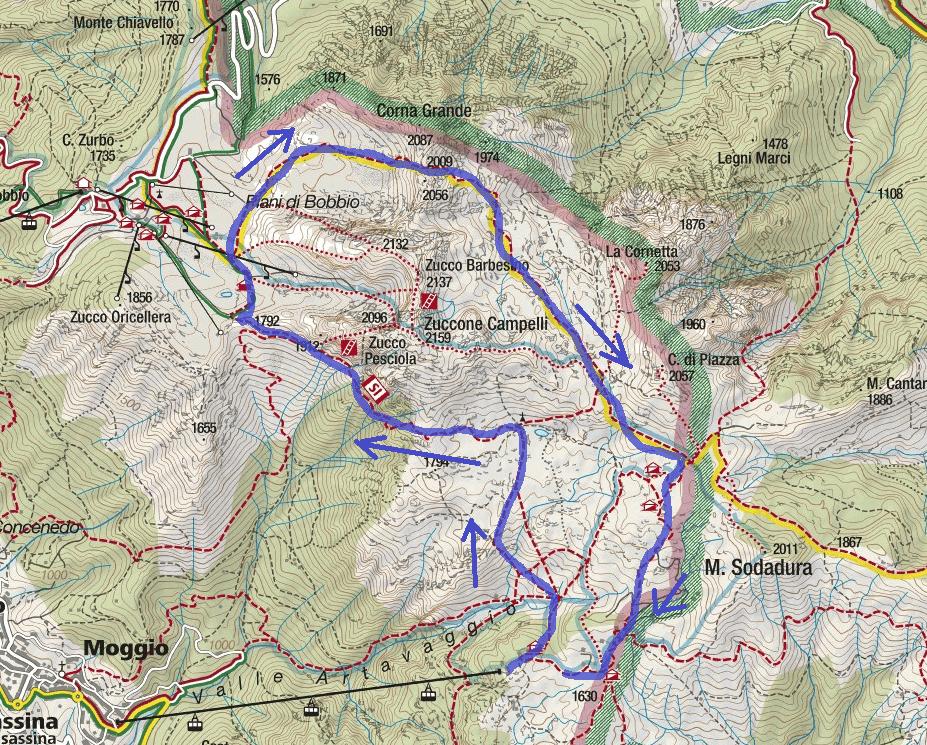 Cartina Sentiero Attrezzato Stradini Itinerario