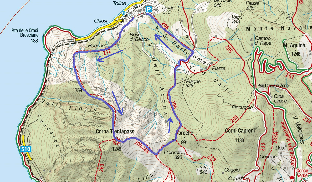 Map Trenatapassi Aided path Itinerary
