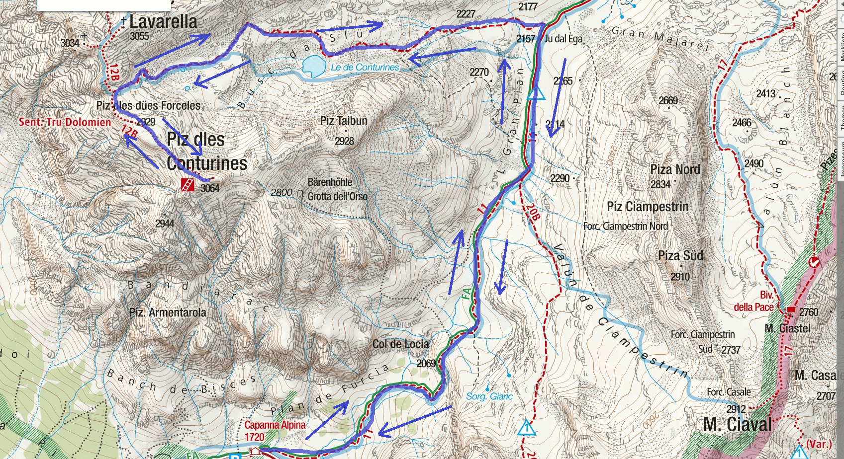 Tru Dolomieu Aided Path Itinerary Map