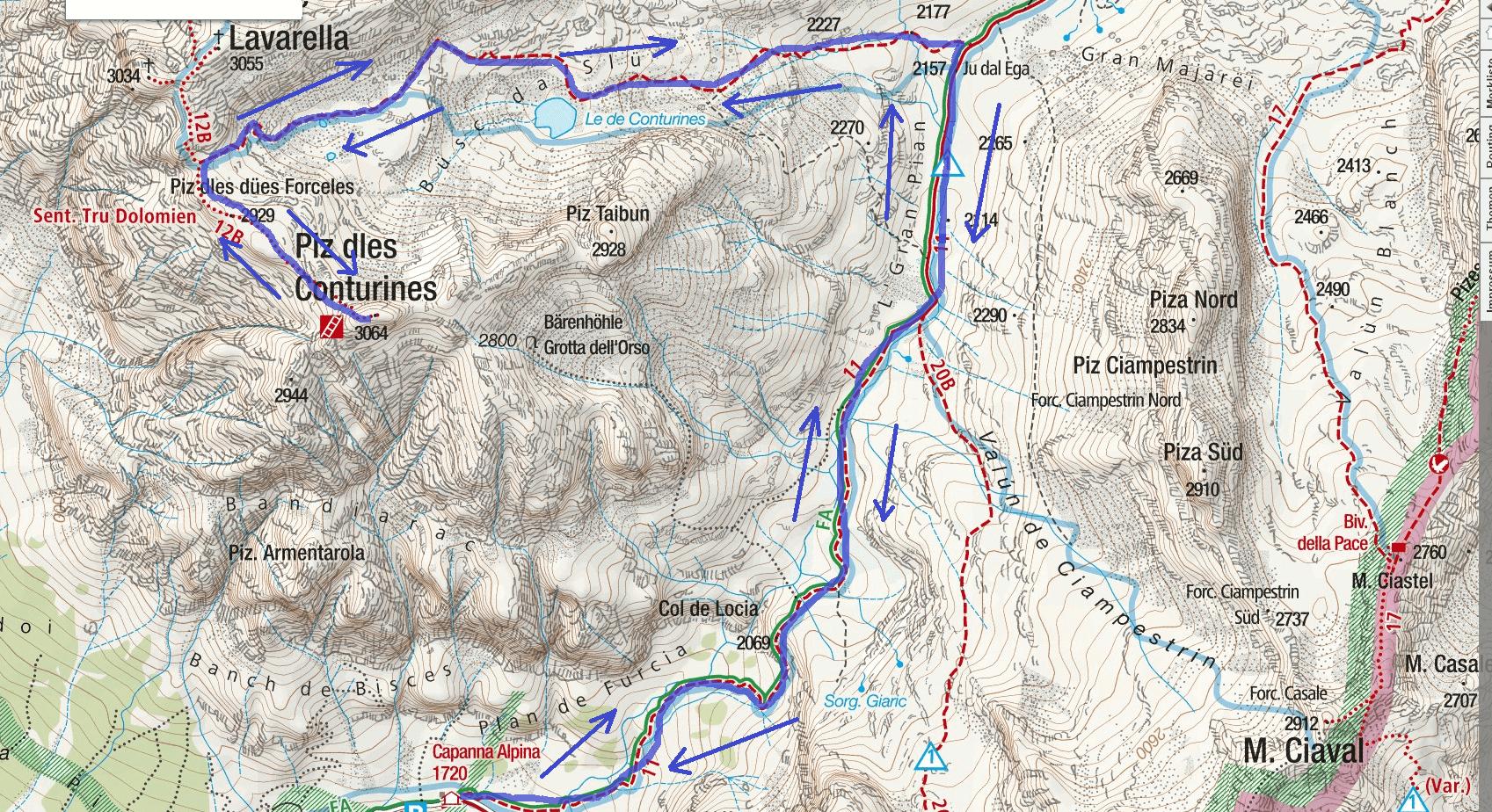 Cartina Sentiero Attrezzato Tru Dolomieu Itinerario