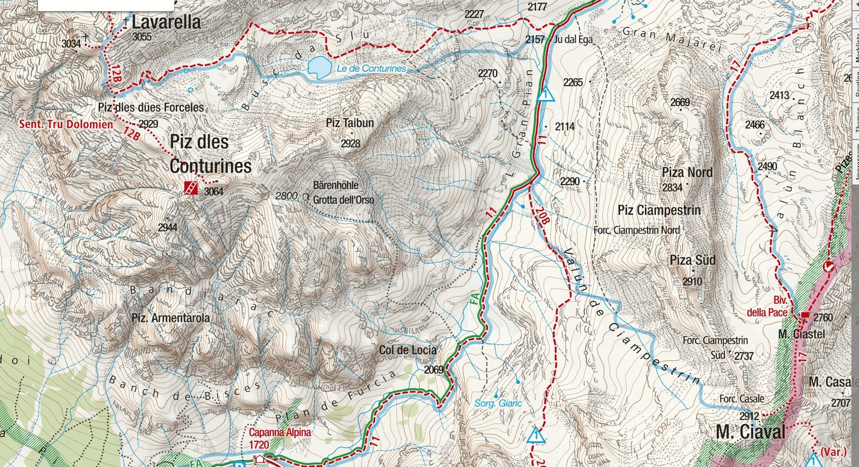 Cartina Sentiero Attrezzato Tru Dolomieu