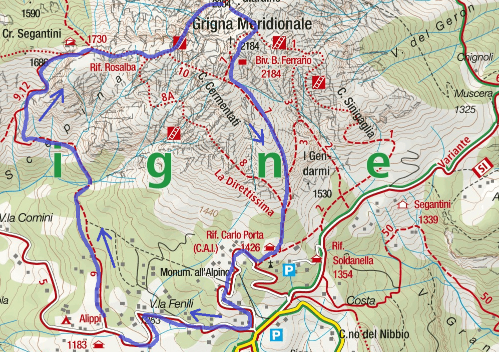 Map of the Aided Path Val Scarettone Itinerary
