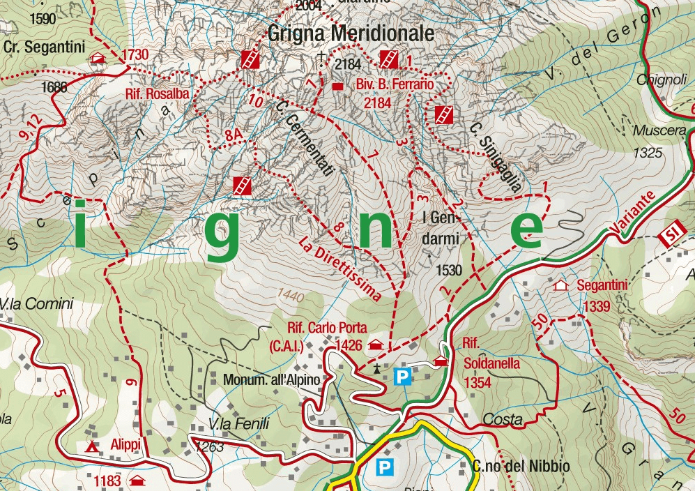 Val Scarettone Aided Path Map