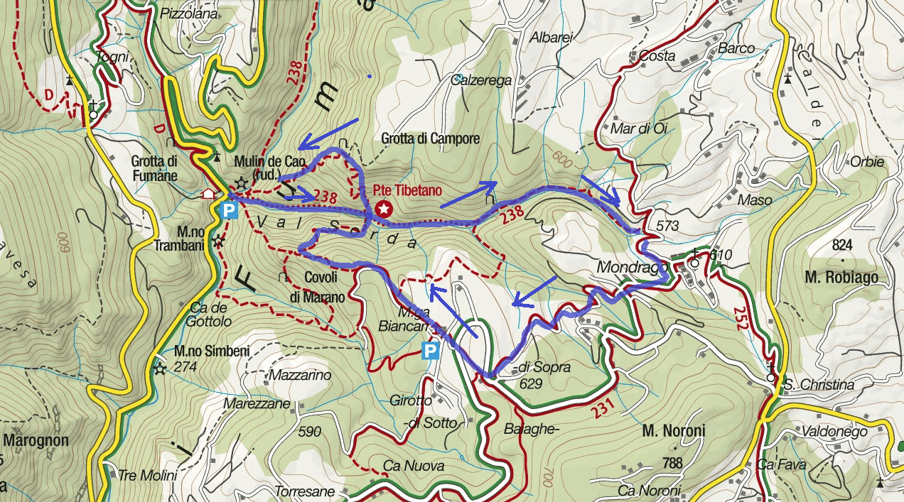Map Sentiero Val Sorda Route Itinerary 3