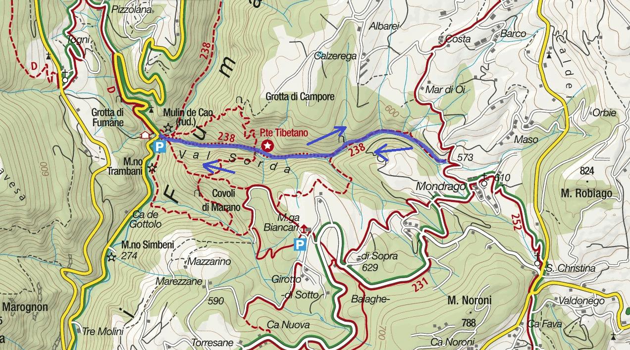 Map Sentiero Val Sorda Itinerary Itinerary