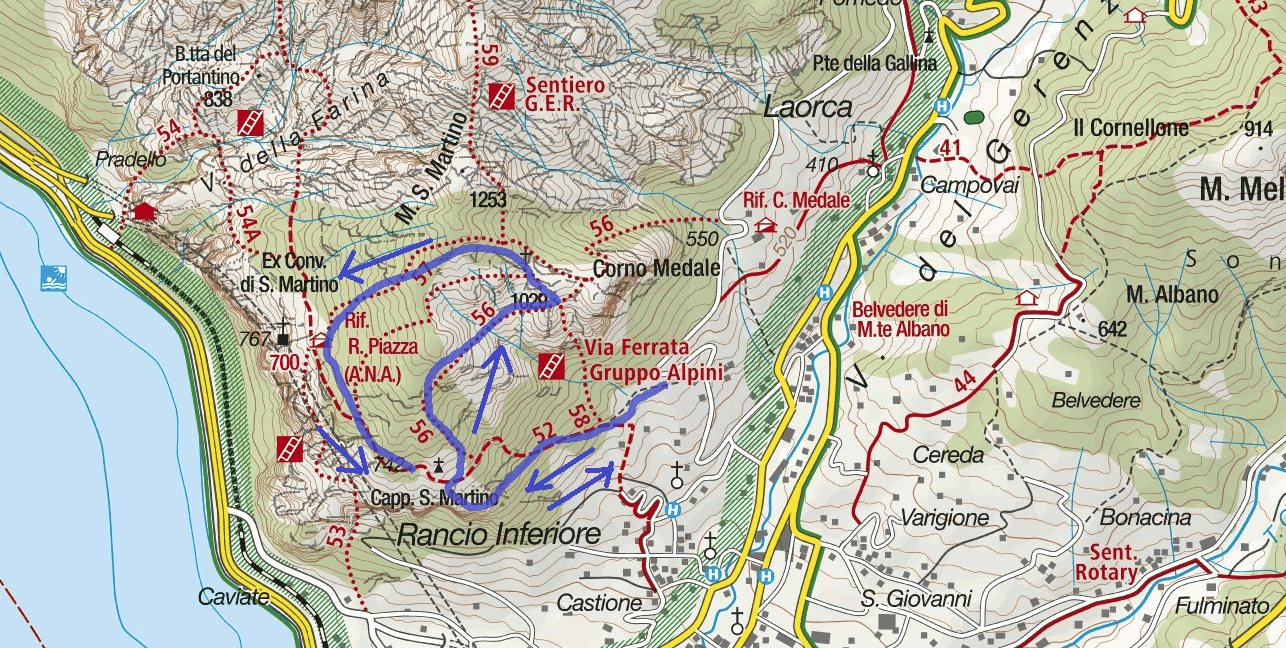 Map Path Aided Vergella Itinerary