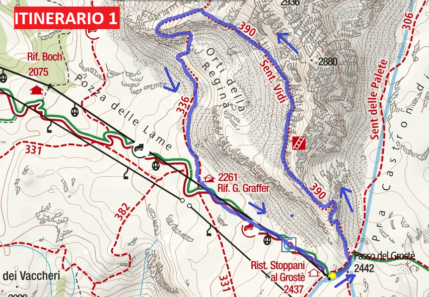 Map of aided path I saw Itinerary 1