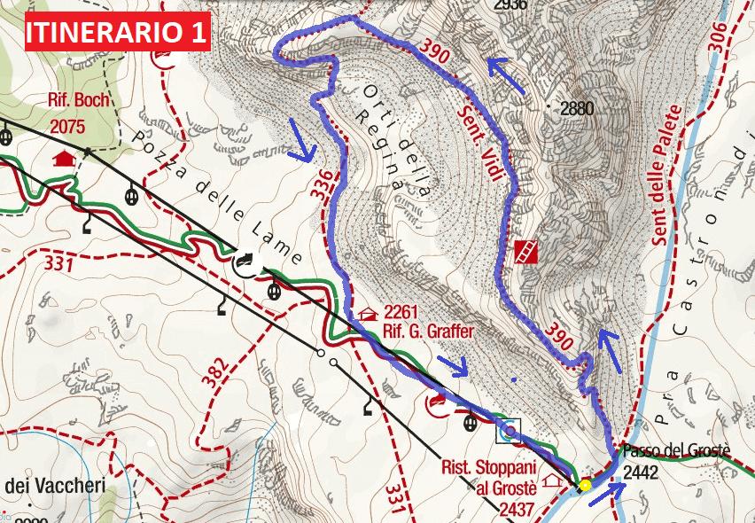 Cartina Sentiero Attrezzato Vidi Itinerario 1