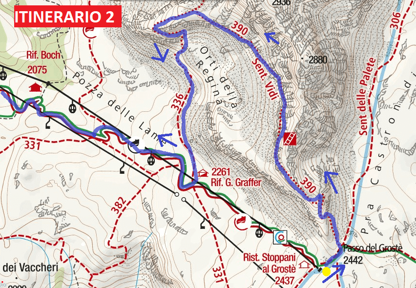 Map of aided path I saw Itinerary 2