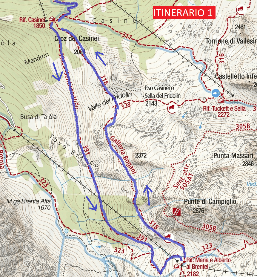 Map of Aided path Violi Route 1