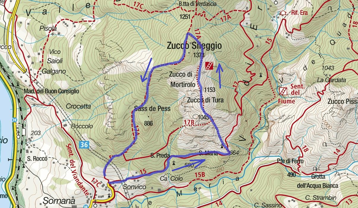Cartina Sentiero Attrezzato Zucco Sileggio Itinerario