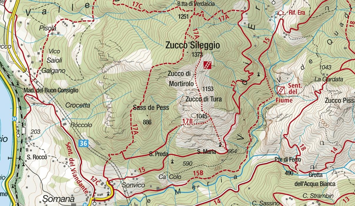 Cartina Sentiero Attrezzato Zucco Sileggio