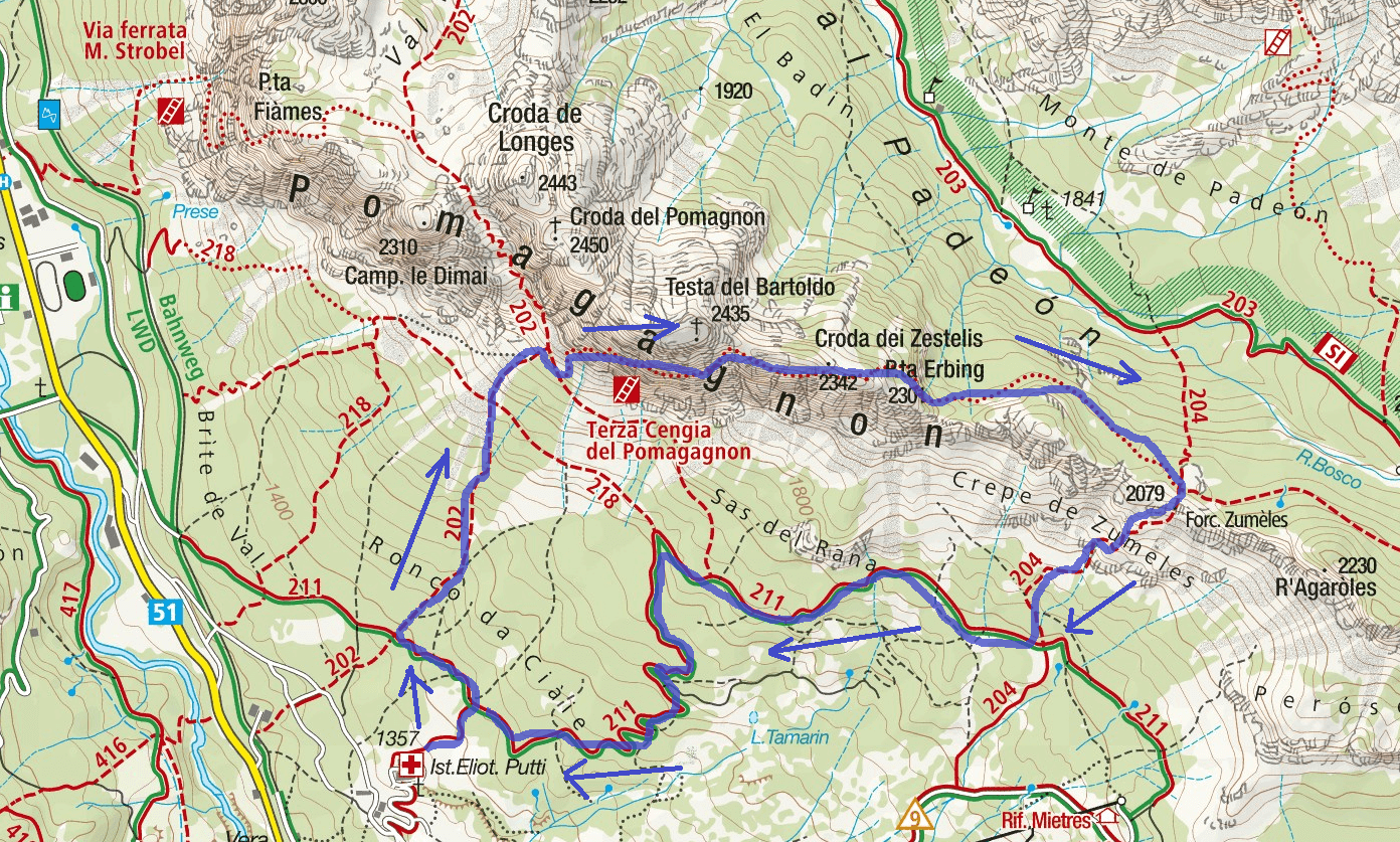 Zumeles Aided Path Map - Third Ledge Pomagagnon Route