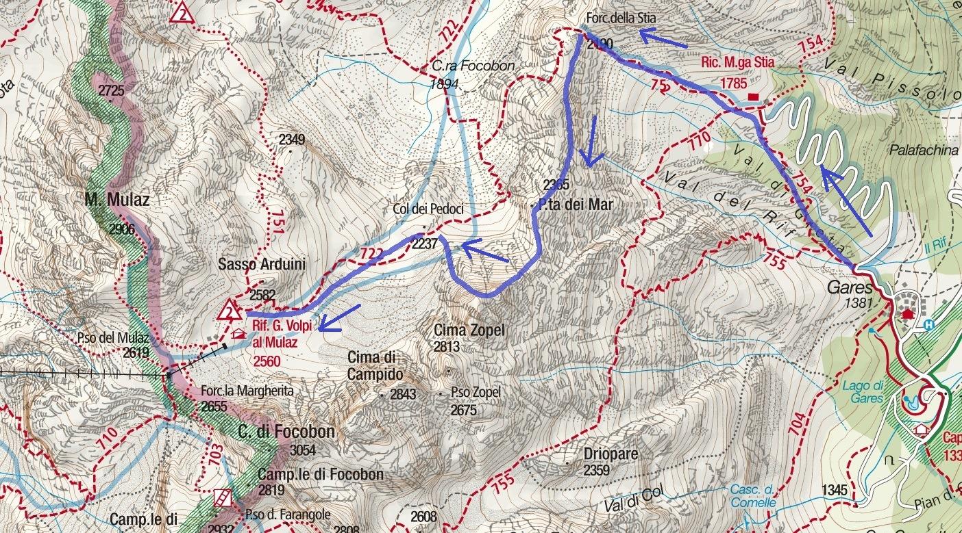 Cartina Sentiero Attrezzato dei Mar Itinerario