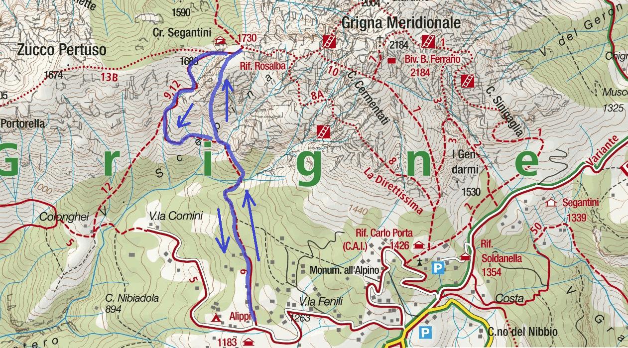 Cartina Sentiero Attrezzato dei Morti Itinerario