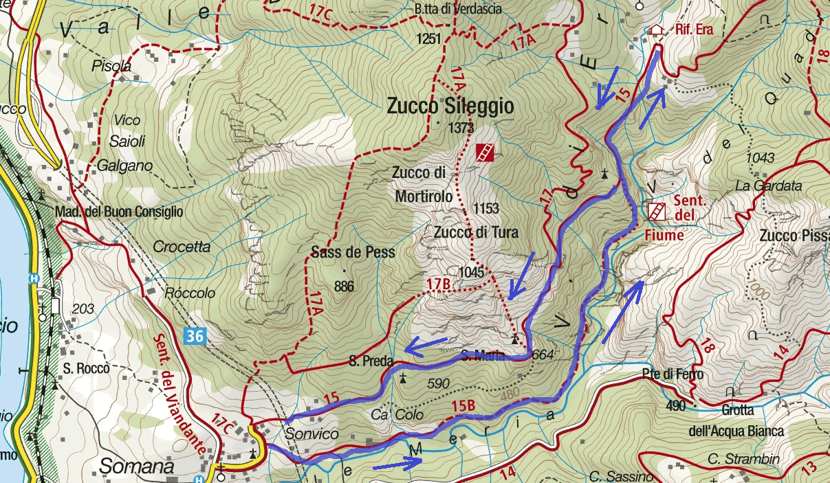 Map of the River Aided Path Itinerary