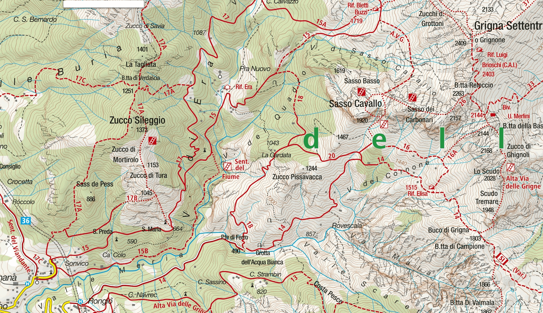 Aided Path Map of Val Cassina