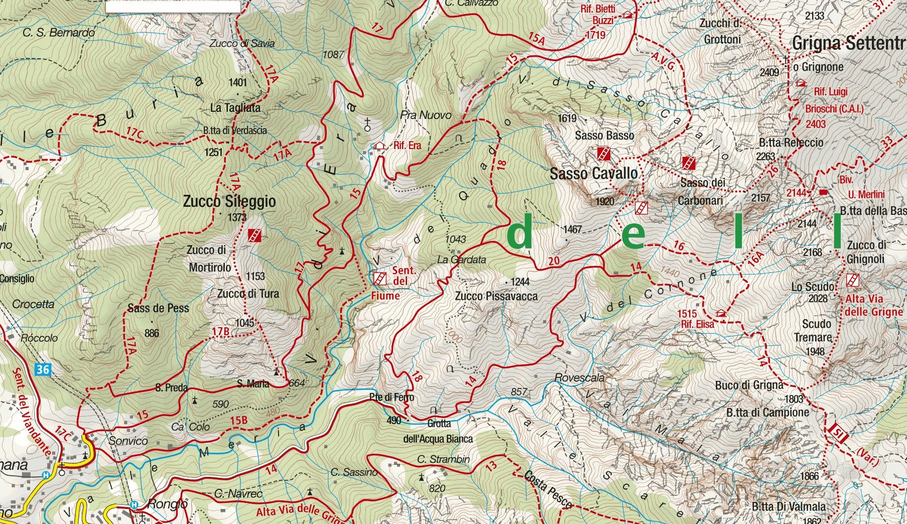 Cartina Sentiero Attrezzato della Val Cassina