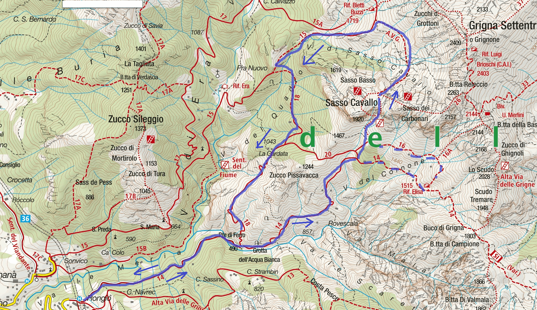 Aided Path Map of Val Cassina Itinerary