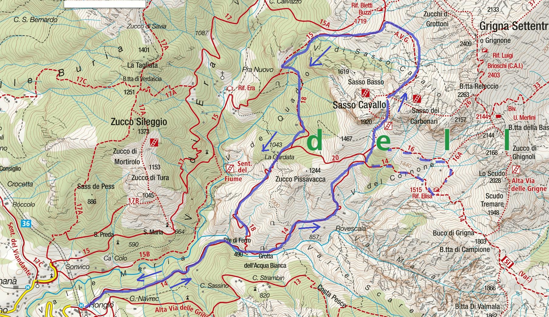 Cartina Sentiero Attrezzato della Val Cassina Itinerario