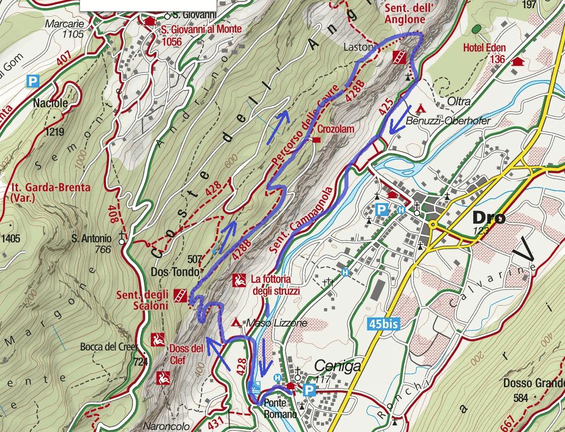 Map Sentiero Cavre Scaloni Anglone Itinerary
