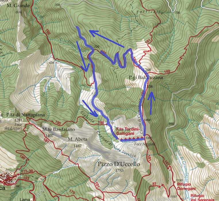Map Tordini Galligani Foce Siggioli Itinerary