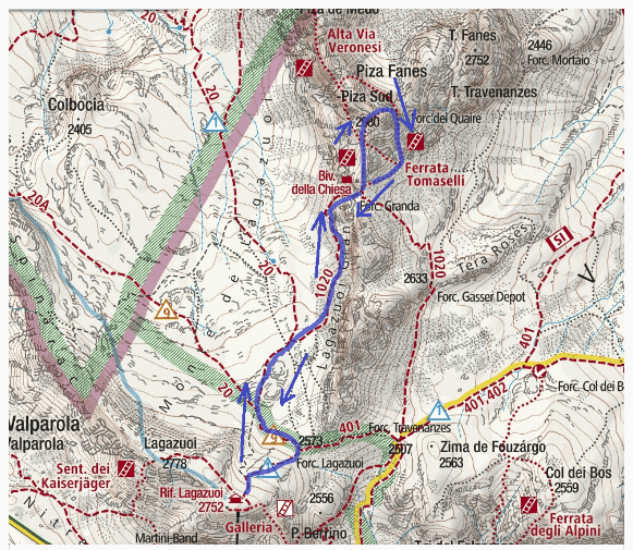 Ferrata map with itinerary