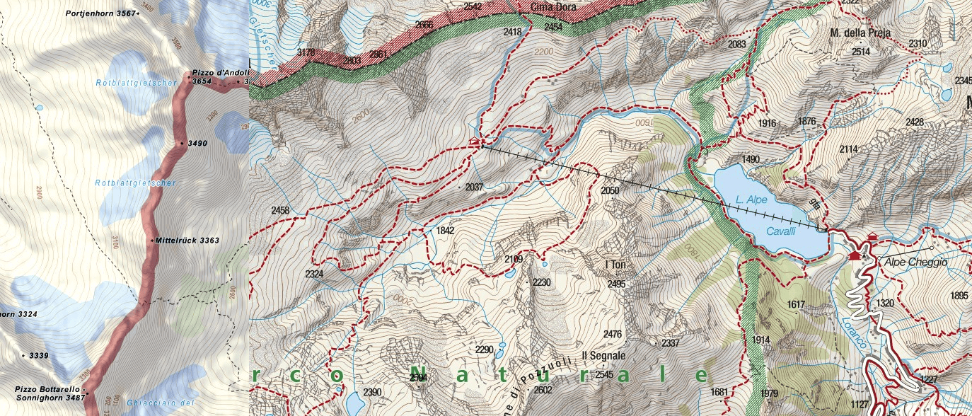 Ferrata map of Lake Andolla