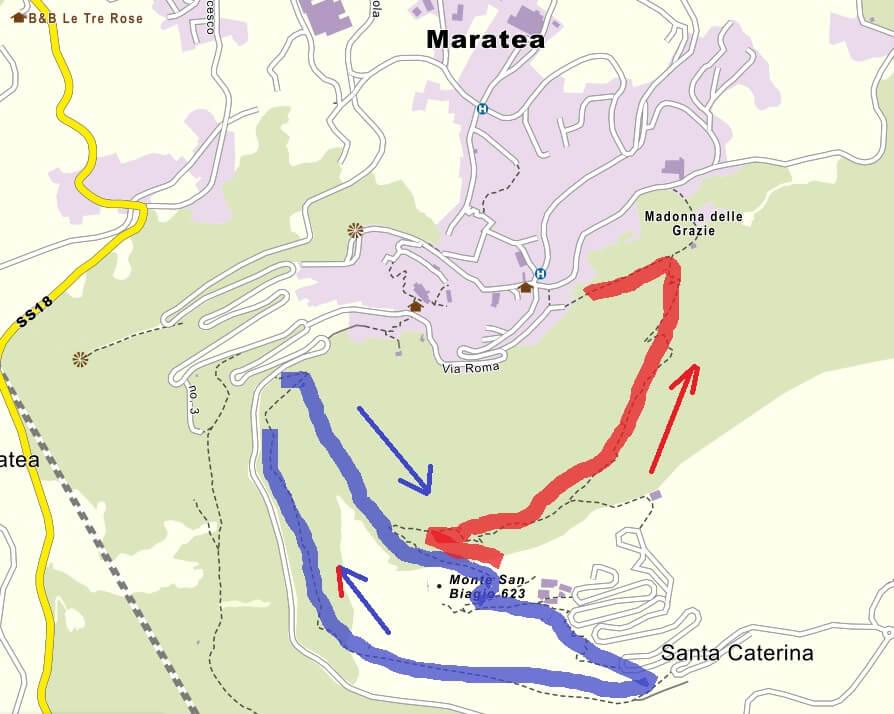 CartinaFerrataMarateaItinerario