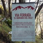Ferrata Barranco del Dolo Path Approach signpost