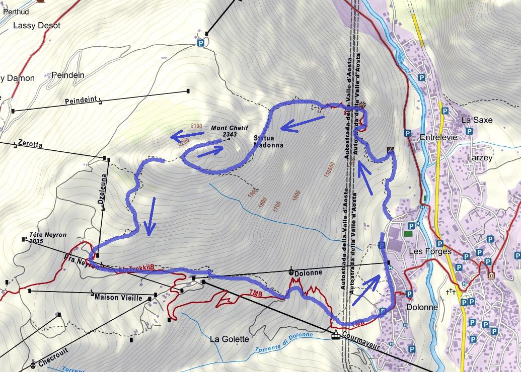 Ferrata Bicentenario Mont Chetif Itinerario
