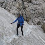 Ferrata Bolver Lugli 37 downhill section on snowfield
