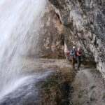 Ferrata Waterfalls of Fanes Ledge below the waterfall 2